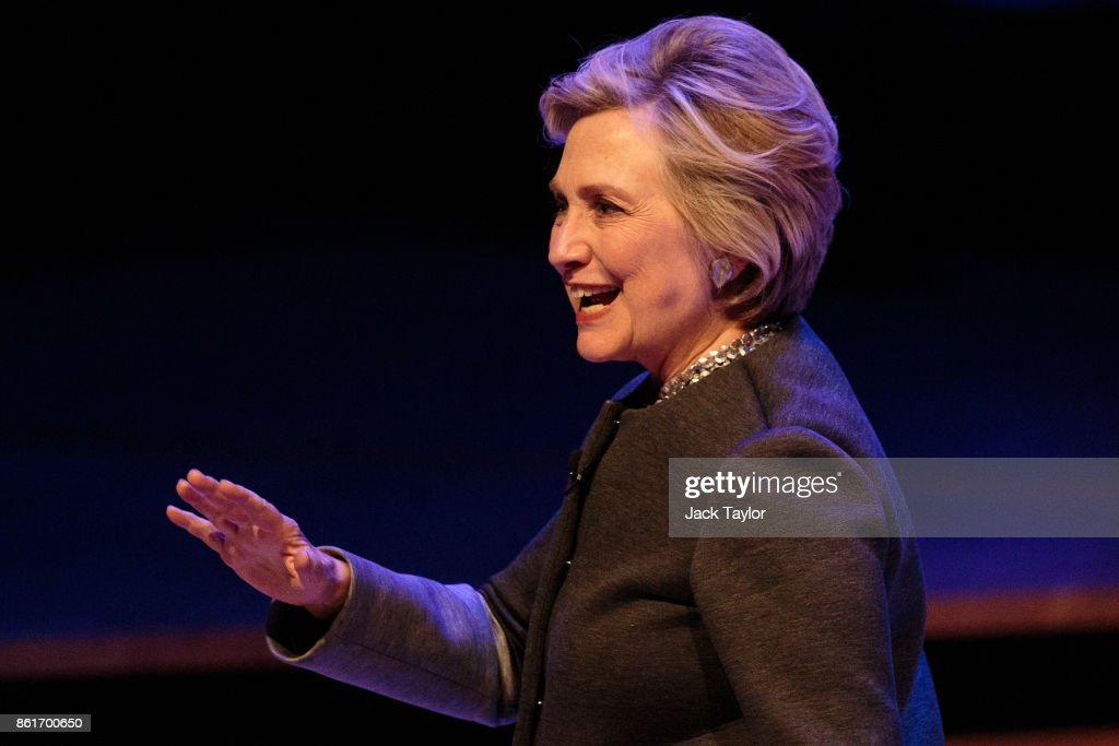 Former US Secretary of State Hilary Clinton walks off stage following her talk at the Southbank Centre's London Literature Festival at The Royal Festival Hall on October 15, 2017 in London, England. Mrs Clinton has been speaking about her recently published memoir 'What Happened' which reflects on her defeat by Donald Trump in the 2016 US presidential election.