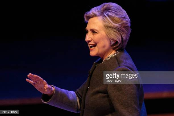 Former US Secretary of State Hilary Clinton walks off stage following her talk at the Southbank Centre's London Literature Festival at The Royal...
