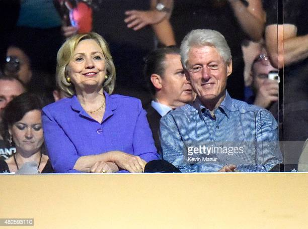 Former US Secretary of State Hillary Clinton and Former US President Bill Clinton attend U2's 'iNNOCENCE eXPERIENCE' tour at Madison Square Garden on...