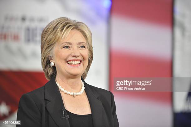 Former US Secretary of State Hillary Clinton at the CBS News Democratic Presidential Debate at Drake University Des Moines Iowa on Saturday November...
