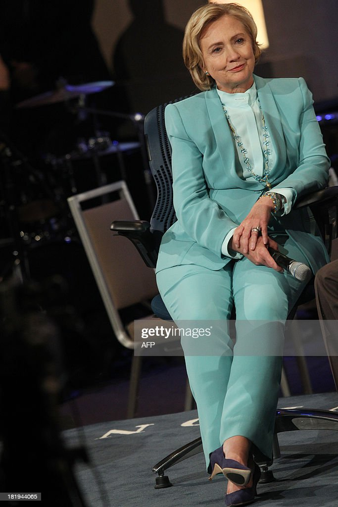 Former US Secretary of State Hillary Clinton attends the Closing Plenary Session of the Clinton Global Initiative (CGI) September 26, 2013 in New York. AFP PHOTO/Mehdi Taamallah