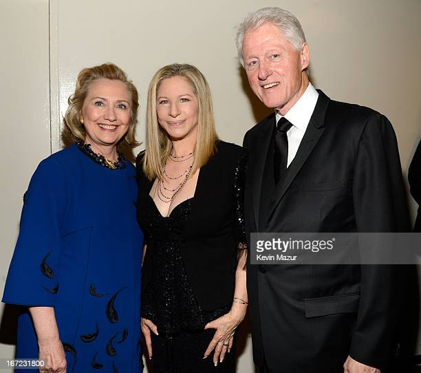 Former US Secretary of State Hillary Clinton Barbra Streisand and Former US President Bill Clinton backstage at the 40th Anniversary Chaplin Award...