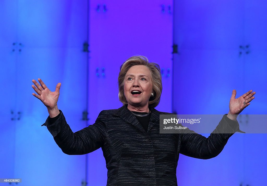 Former US Secretary of State Hillary Clinton delivers a keynote address during the Watermark Silicon Valley Conference for Women on February 24 2015...