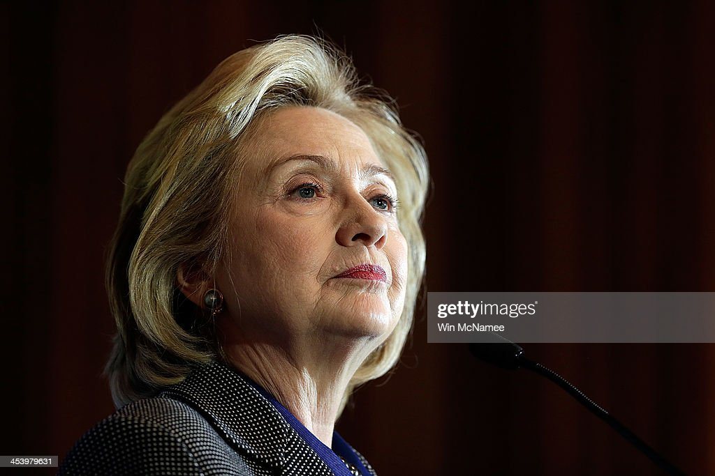 Former U.S. Secretary of State <a gi-track='captionPersonalityLinkClicked' href=/galleries/search?phrase=Hillary+Clinton&family=editorial&specificpeople=76480 ng-click='$event.stopPropagation()'>Hillary Clinton</a> delivers remarks after being presented the 2013 Tom Lantos Human Rights Prize December 6, 2013 in Washington, DC. Clinton received the award for her work in the areas of women's rights and internet freedom.