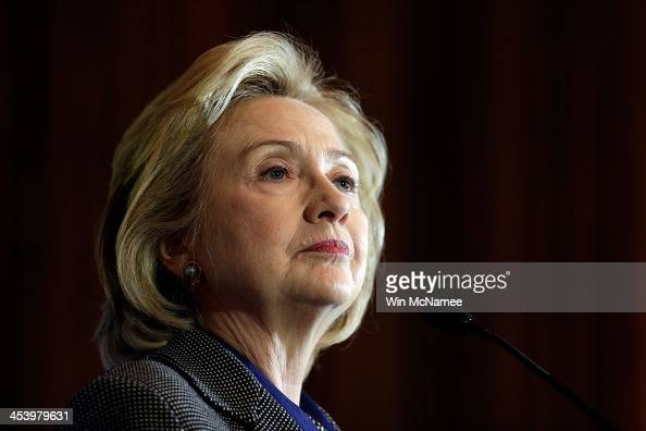 Former US Secretary of State Hillary Clinton delivers remarks after being presented the 2013 Tom Lantos Human Rights Prize December 6 2013 in...