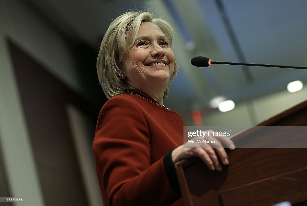 Former U.S. Secretary of State <a gi-track='captionPersonalityLinkClicked' href=/galleries/search?phrase=Hillary+Clinton&family=editorial&specificpeople=76480 ng-click='$event.stopPropagation()'>Hillary Clinton</a> speaks at an award ceremony for the 2015 Toner Prize for Excellence in Political Reporting March 23, 2015 in Washington, DC. The event was held at the Center for Strategic and International Studies.