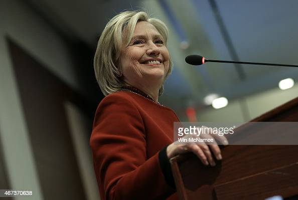 Former US Secretary of State Hillary Clinton speaks at an award ceremony for the 2015 Toner Prize for Excellence in Political Reporting March 23 2015...