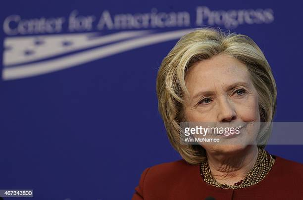 Former US Secretary of State Hillary Clinton speaks at the Center for American Progress March 23 2015 in Washington DC Clinton joined a panel in...