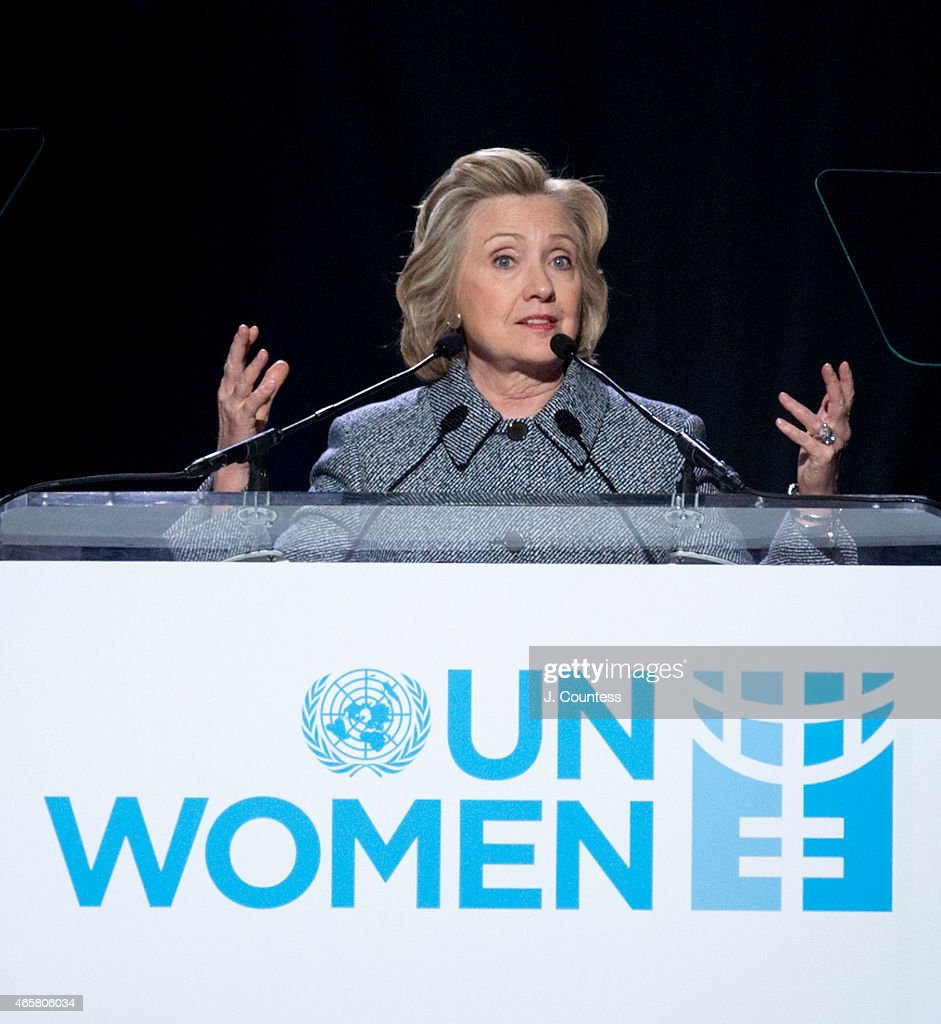 Former US Secretary of State Hillary Clinton speaks at the Step It Up For Gender Equality Celebration of the 20th Anniversary Of The Fourth World Conference On Women In Beijing at the Hammerstein Ballroom on March 10, 2015 in New York City.