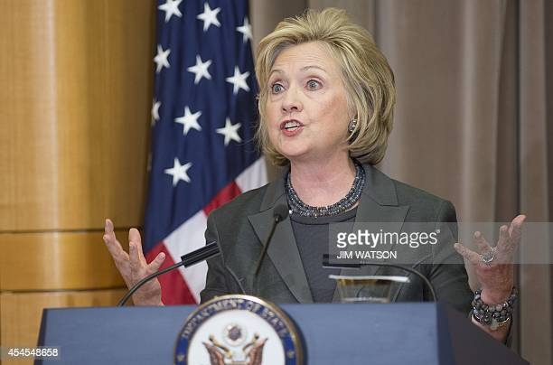 Former US Secretary of State Hillary Clinton speaks during a ceremony to break ground on the US Diplomacy Center at the US State Department in...