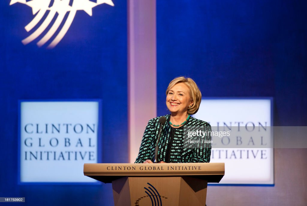 Former U.S. Secretary of State <a gi-track='captionPersonalityLinkClicked' href=/galleries/search?phrase=Hillary+Clinton&family=editorial&specificpeople=76480 ng-click='$event.stopPropagation()'>Hillary Clinton</a> speaks during the annual Clinton Global Initiative (CGI) meeting on September 24, 2013 in New York City. Timed to coincide with the United Nations General Assembly, CGI brings together heads of state, CEOs, philanthropists and others to help find solutions to the world's major problems.