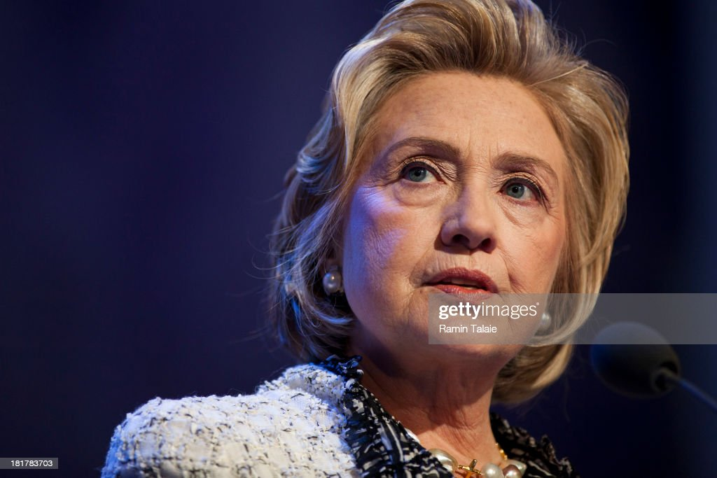 Former U.S. Secretary of State <a gi-track='captionPersonalityLinkClicked' href=/galleries/search?phrase=Hillary+Clinton&family=editorial&specificpeople=76480 ng-click='$event.stopPropagation()'>Hillary Clinton</a> speaks during the annual Clinton Global Initiative (CGI) meeting on September 25, 2013 in New York City. Timed to coincide with the United Nations General Assembly, CGI brings together heads of state, CEOs, philanthropists and others to help find solutions to the world's major problems.