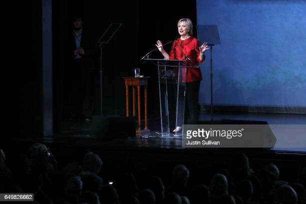 Former US Secretary of State Hillary Clinton speaks during the Vital Voices Global Leadership Awards at the The John F Kennedy Center for the...