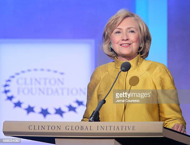 Former US Secretary of State Hillary Clinton speaks onstage during the fourth day of the Clinton Global Initiative's 10th Annual Meeting at the...