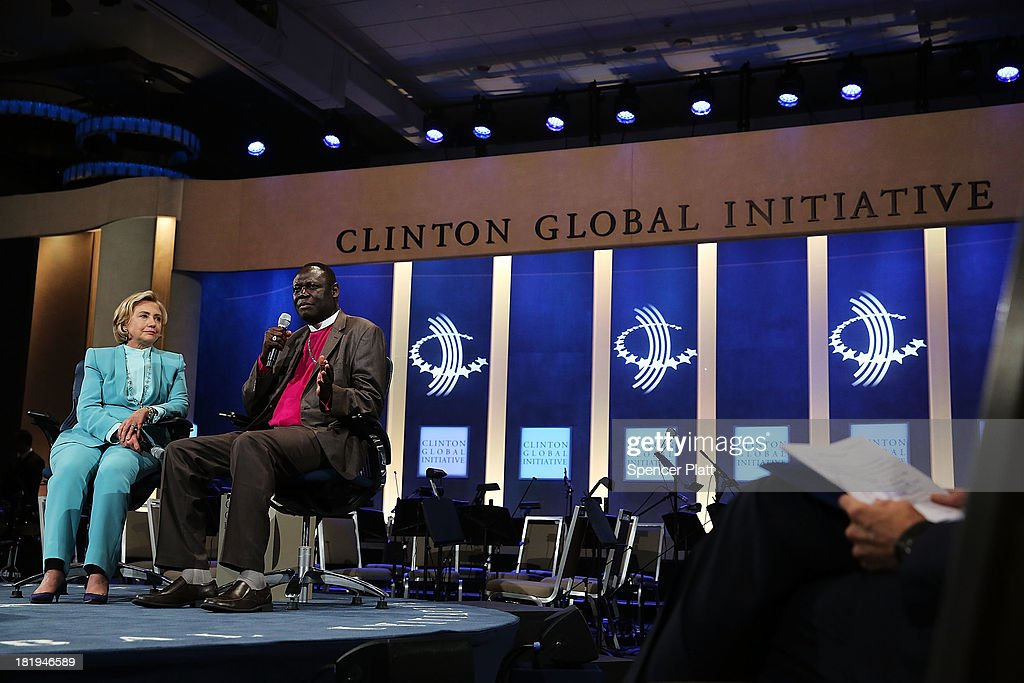Former U.S. Secretary of State <a gi-track='captionPersonalityLinkClicked' href=/galleries/search?phrase=Hillary+Clinton&family=editorial&specificpeople=76480 ng-click='$event.stopPropagation()'>Hillary Clinton</a> speaks with Elias Taban, national bishop at the Church of South Sudan and Uganda, at the closing session of the Clinton Global Initiative (CGI) on September 26, 2013 in New York City. Timed to coincide with the United Nations General Assembly, CGI brings together heads of state, CEOs, philanthropists and others to help find solutions to the world's major problems.