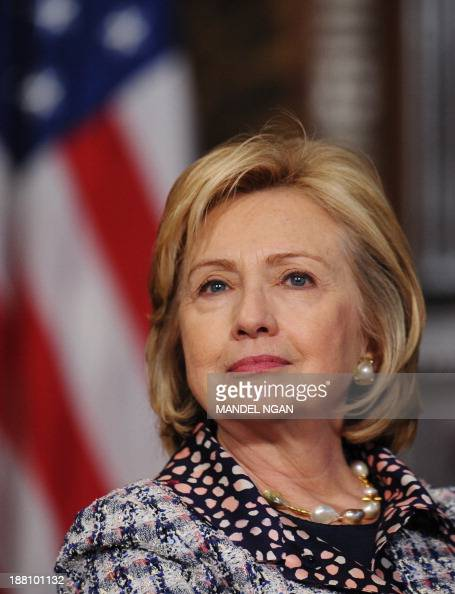 Former US Secretary of State Hillary Clinton takes part in the Georgetown University Symposium Advancing Afghan Women Promoting Peace and Progress in...