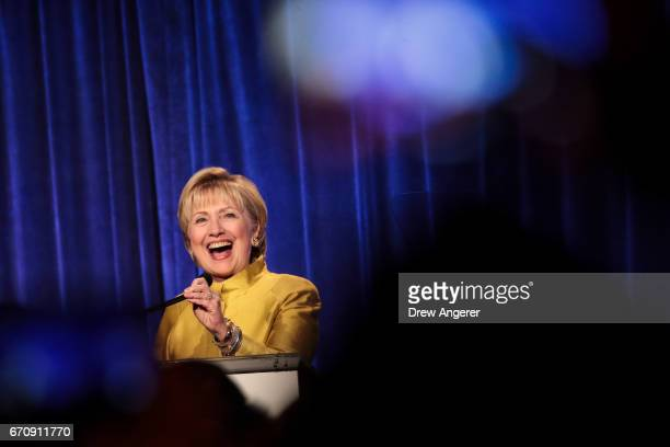 Former US Secretary of State Hillary Clinton takes the stage before speaking at the annual LGBT Center dinner April 20 2017 in New York City Clinton...