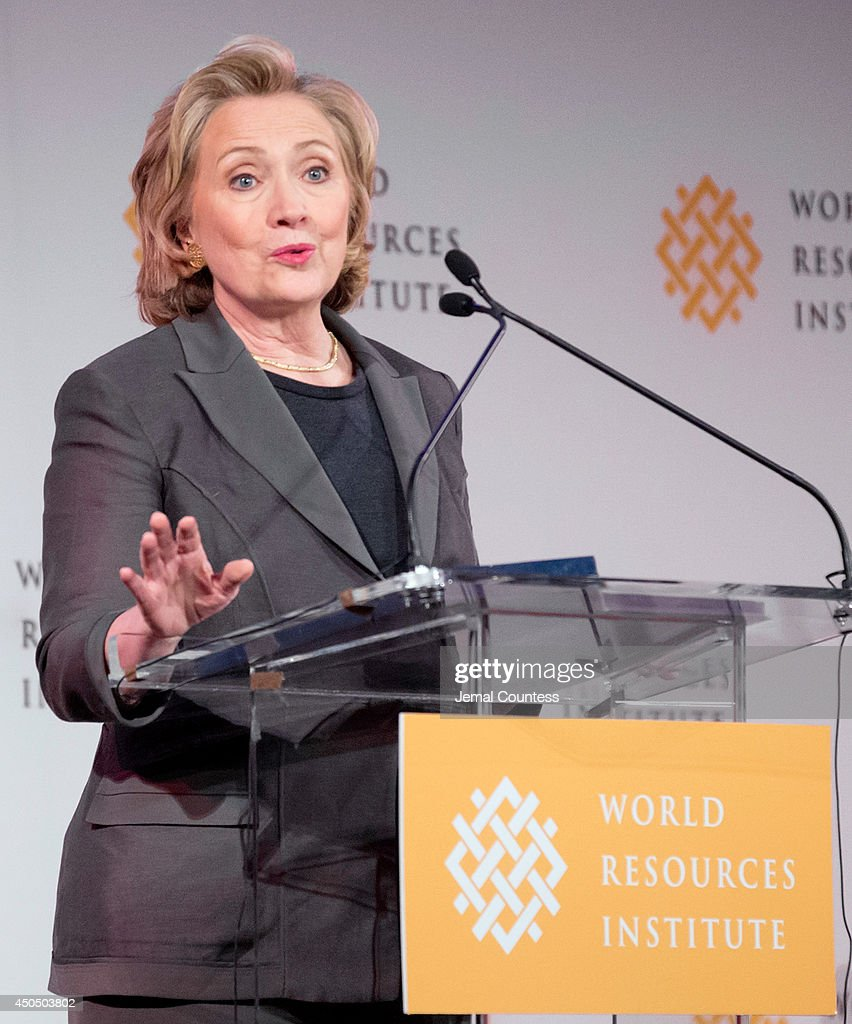 Former US Secretary of State Hillary Rodham Clinton addresses members of the audience at the The World Resource Institute Courage To Lead Luncheon at the 538 Park Avenue on June 12, 2014 in New York City. Clinton delivered remarks as she introduced Chairman of the World Resources Institute James A. Harmon, who was being honored at the luncheon.