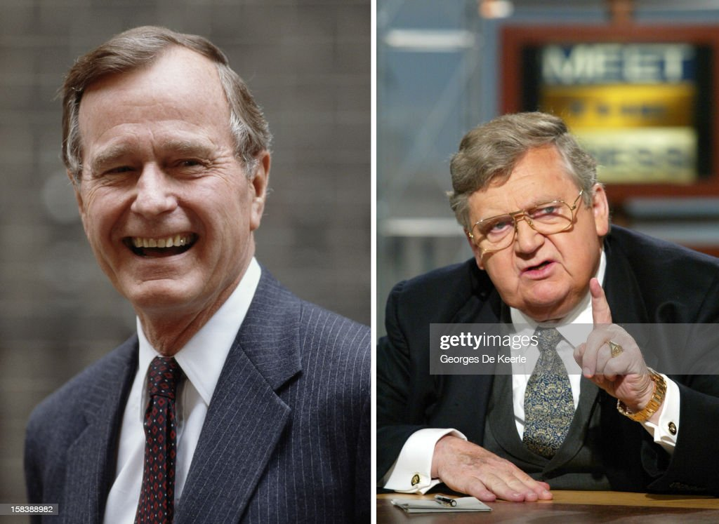 In this composite image a comparison has been made between former US President George Bush and his serving Secretary of State Lawrence Eagleburger. WASHINGTON - SEPTEMBER 1: Former U.S. Secretary of State Lawrence Eagleburger gestures as he speaks on NBC's 'Meet the Press' during a taping September 1, 2002 at the NBC studios in Washington, DC. Eagleburger spoke about whether or not the U.S. should strike Iraq.
