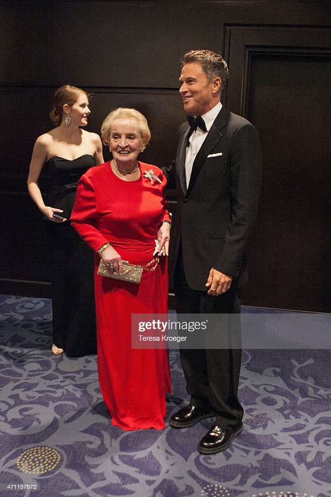 Former U.S. Secretary of State Madeleine Albright (L) and Actor Tim Daly attend the 101st Annual White House Correspondents' Association Dinner at the Washington Hilton on April 25, 2015 in Washington, DC.