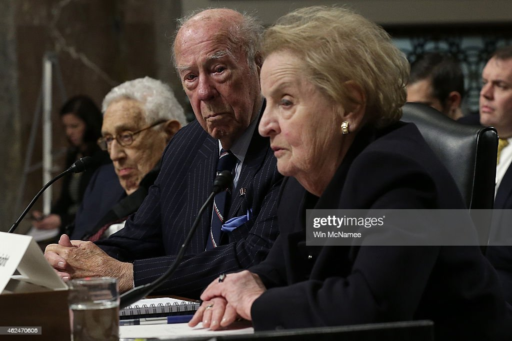 Former US Secretary of State Madeleine Albright former US Secretary of State George Shultz and former US Secretary of State Henry Kissinger testify...