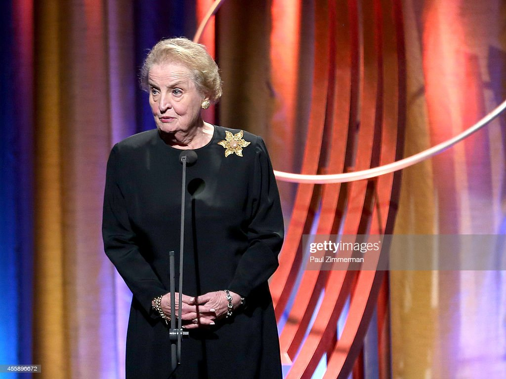 Former U.S. Secretary of State <a gi-track='captionPersonalityLinkClicked' href=/galleries/search?phrase=Madeleine+Albright&family=editorial&specificpeople=211429 ng-click='$event.stopPropagation()'>Madeleine Albright</a> speaks at the 8th Annual Clinton Global Citizen Awards And CGCA Blue Carpet at Sheraton New York Times Square on September 21, 2014 in New York City.