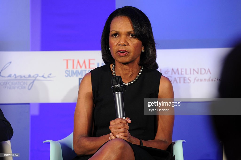 Former US secretary of the State and professor <a gi-track='captionPersonalityLinkClicked' href=/galleries/search?phrase=Condoleezza+Rice&family=editorial&specificpeople=157540 ng-click='$event.stopPropagation()'>Condoleezza Rice</a> at the TIME Summit On Higher Education Day 1 at Time Warner Center on September 19, 2013 in New York City.