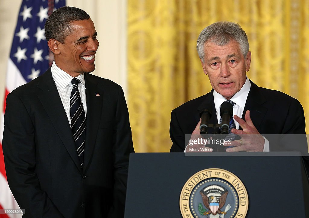 Former U.S. Sen. <a gi-track='captionPersonalityLinkClicked' href=/galleries/search?phrase=Chuck+Hagel&family=editorial&specificpeople=504963 ng-click='$event.stopPropagation()'>Chuck Hagel</a> (R-NE) (R) speaks after U.S. President <a gi-track='captionPersonalityLinkClicked' href=/galleries/search?phrase=Barack+Obama&family=editorial&specificpeople=203260 ng-click='$event.stopPropagation()'>Barack Obama</a> (L) nominated him to replace U.S. Secretary of Defense Leon Panetta as Defense Secretary during an event in the East Room at the White House on January 7, 2013 in Washington, DC. If confirmed by the U.S. Senate, Hagel who is a decorated Vietnam combat veteran will replace Leon Panetta as Defense Secretary.