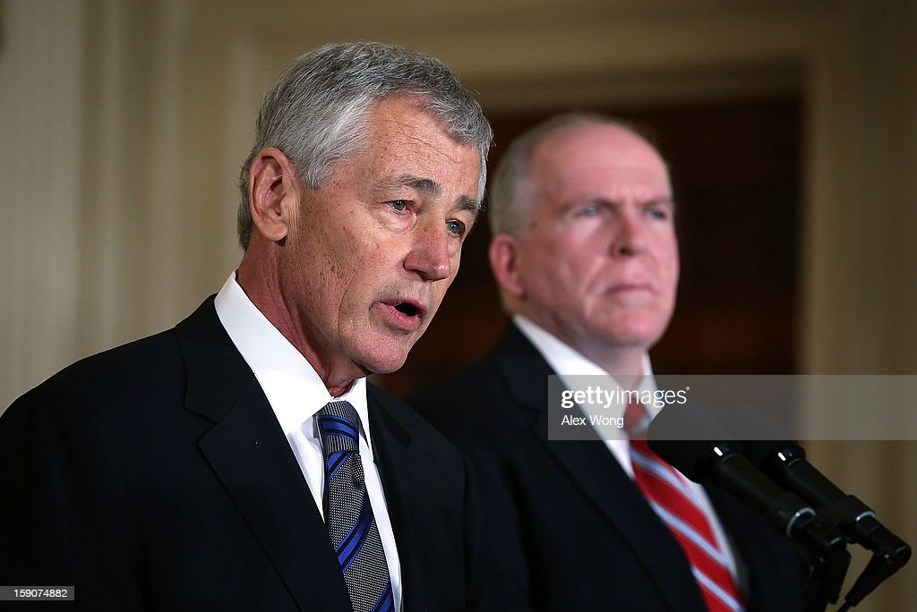 Former U.S. Sen. Chuck Hagel (R-NE) (L) speaks during a personnel announcement in the East Room at the White House as Deputy National Security Advisor for Homeland Security and Counterterrorism John Brennan looks on January 7, 2013 in Washington, DC.U.S. President Barack Obama has nominated Hagel for the next Secretary of Defense and Brennan to become the new director of the CIA.