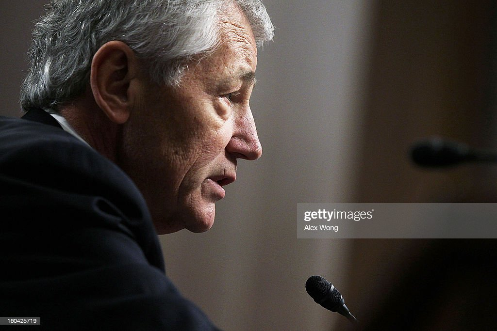 Former U.S. Sen. Chuck Hagel (R-NE) testifies before the Senate Armed Services Committee during his confirmation hearing to become the next secretary of defense on Capitol Hill January 31, 2013 in Washington, DC. President Barack Obama nominated Hagel, a controversial choice as Hagel opposed former President George W. Bush and his own party on the Iraq War and upset liberals with his criticism of a gay ambassador, for which he later apologized.