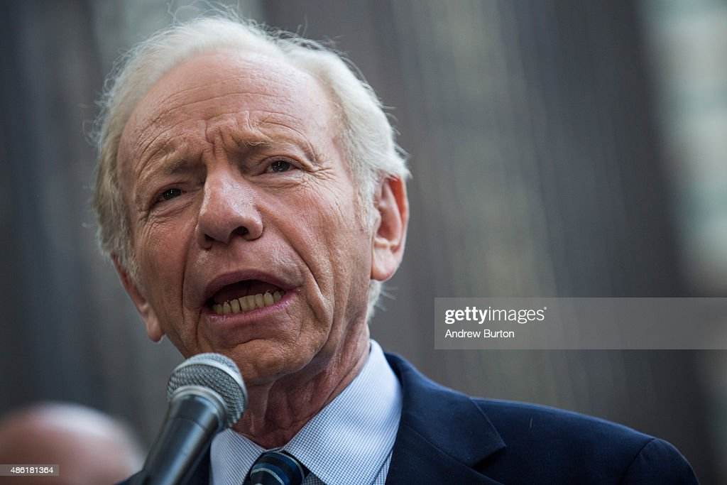 Former US Sen Joe Lieberman speaks at a 'Stop Iran Rally' regarding the Iran nuclear deal on September 1 2015 in New York City Congress has until...