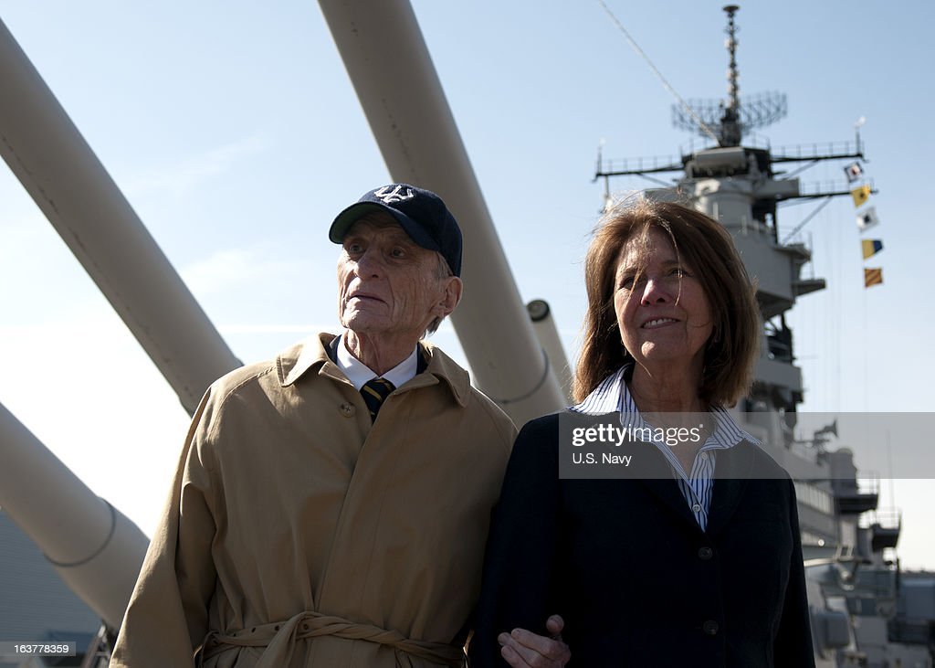 Former U.S. Sen. John Warner and his wife, Jeanne, tour the Hampton Roads Naval Museum and the Battleship Wisconsin on March 15, 2013 in Norforlk, Virginia. Warner is attending the keel laying ceremony for the Virginia-class attack submarine Pre-Commissioning Unit (PCU) John Warner (SSN 785). Warner has served as an undersecretary of the Navy, a U.S. senator, a Marine Corps officer during the Korean War and as a Navy petty officer in World War II. PCU John Warner is under construction at Newport News Shipbuilding.