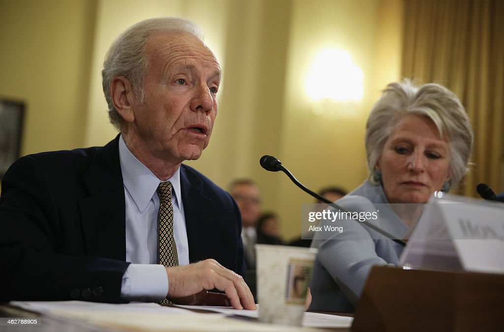 Former US Sen Joseph Lieberman and former US Rep Jane Harman director of the Woodrow Wilson Center testify during a hearing before the House Homeland...