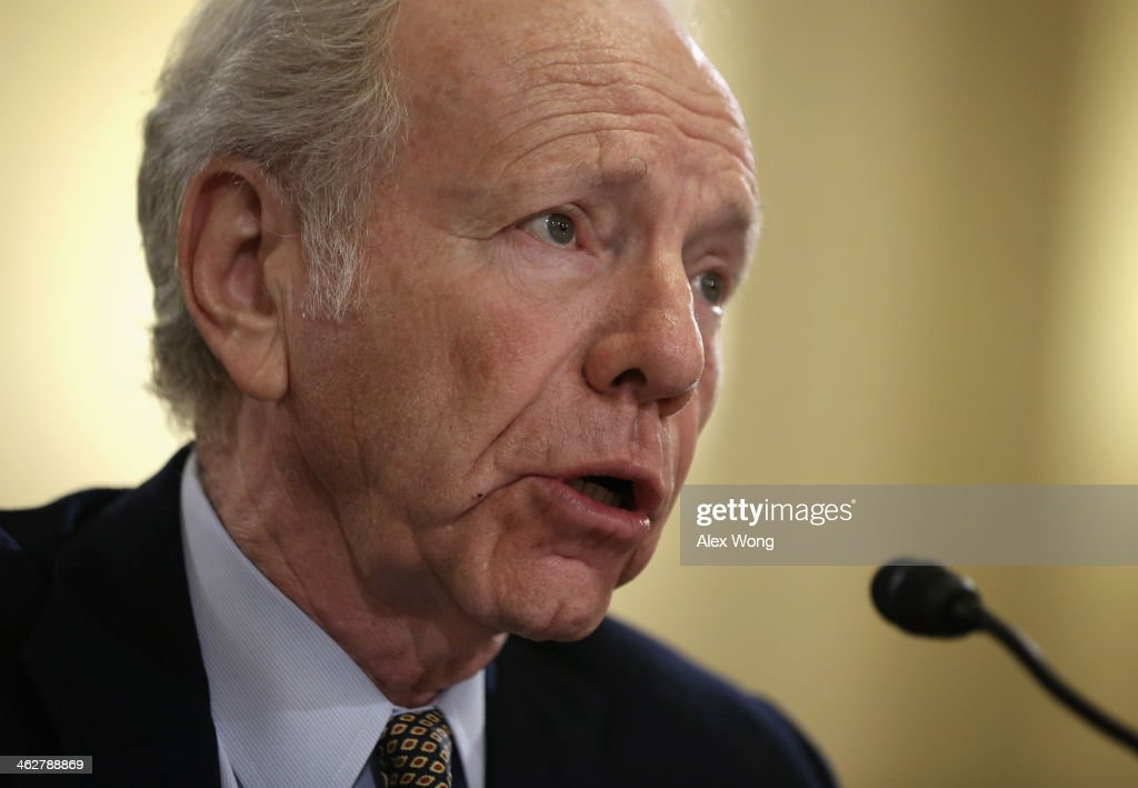 Former US Sen Joseph Lieberman testifies during a hearing before the House Homeland Security Committee January 15 2014 on Capitol Hill in Washington...