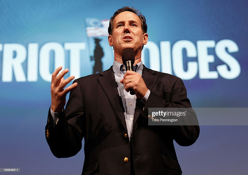 Former U.S. Sen. <a gi-track='captionPersonalityLinkClicked' href=/galleries/search?phrase=Rick+Santorum&family=editorial&specificpeople=212911 ng-click='$event.stopPropagation()'>Rick Santorum</a> speaks at the 'Patriots for Romney-Ryan Reception' on August 29, 2012 in Tampa, Florida. Former Massachusetts Gov. Former Massachusetts Gov. Mitt Romney was nominated as the Republican presidential candidate during the RNC, which is scheduled to conclude August 30.