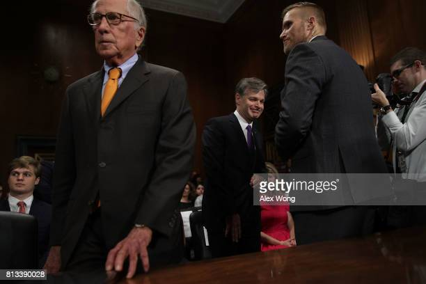 Former US Sen Sam Nunn and FBI Director nominee Christopher Wray prior to the confirmation hearing of Wray before the Senate Judiciary Committee July...
