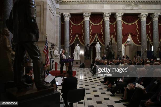 Former US Senate Majority Leader Tom Daschle participates in a reading during a memorial service at the National Statuary Hall of the Capitol...