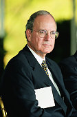 Former US Senator and Ireland peace envoy George Mitchell at the presentation of the Paul O'Dwyer Award on the South Lawn at the White House on...