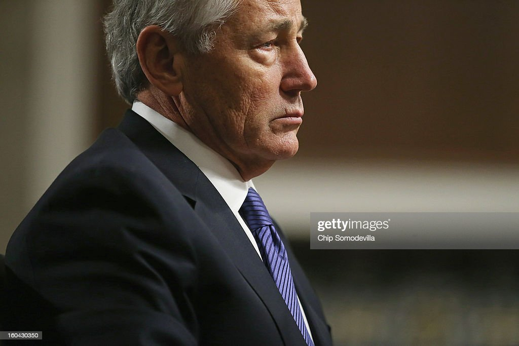 Former U.S. Senator Chuck Hagel (R-NE) testifies before the Senate Armed Services Committee during his confirmation hearing to become the next secretary of defense on Capitol Hill January 31, 2013 in Washington, DC. President Barack Obama nominated Hagel, a controversial choice as Hagel opposed former President George W. Bush and his own party on the Iraq War and upset liberals with his criticism of a gay ambassador, for which he later apologized.