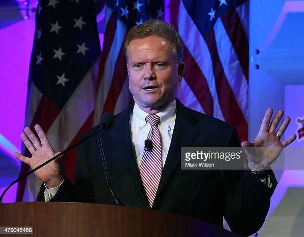 Former US Senator Jim Webb speaks at 'National Sheriffs' Association annual conference June 30 2015 in Baltimore Maryland Webb is expected to...