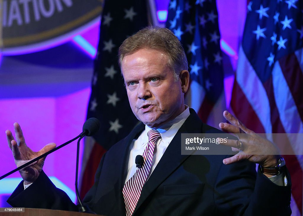 Former US Senator <a gi-track='captionPersonalityLinkClicked' href=/galleries/search?phrase=Jim+Webb&family=editorial&specificpeople=3986302 ng-click='$event.stopPropagation()'>Jim Webb</a> (D) speaks at 'National Sheriffs' Association annual conference June 30, 2015 in Baltimore, Maryland. Webb is expected to announce soon that he will run for President of the United States.