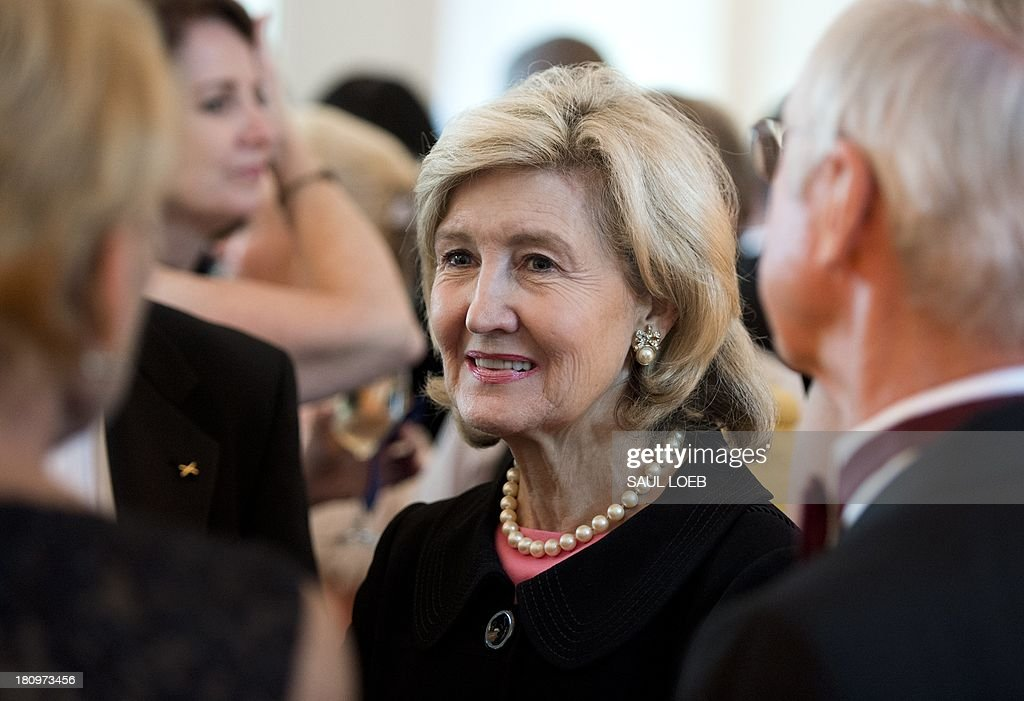 Former US Senator Kay Bailey Hutchison attends the Lone Sailor Awards Dinner at the National Building Museum in Washington, DC, September 18, 2013. The award honors Sea Service veterans who have excelled in their civilian careers while exemplifying the Navy core values with this year's honorees being Hutchison, Ted Turner, Marine Corps General P. X. Kelley and Dan Akerson, Chairman and CEO of General Motors. AFP PHOTO / Saul LOEB