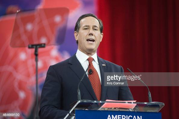 Former US Senator Rick Santorum addresses the 42nd annual Conservative Political Action Conference at the Gaylord National Resort Hotel and...