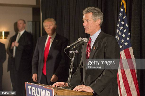Former US Senator Scott Brown a Republican from Massachusetts speaks during a news conference as Donald Trump president and chief executive of Trump...