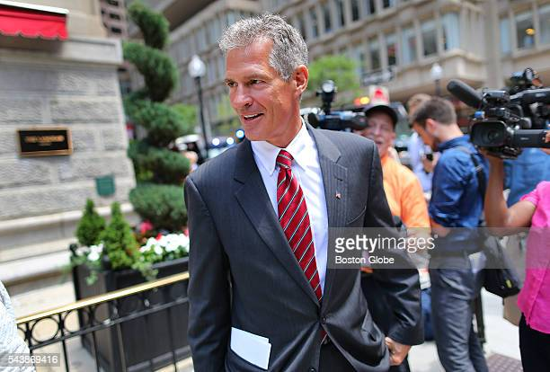 Former US Senator Scott Brown leaves the Langham Hotel in Post Office Square where he attended a fundraising event for Republican presidential...