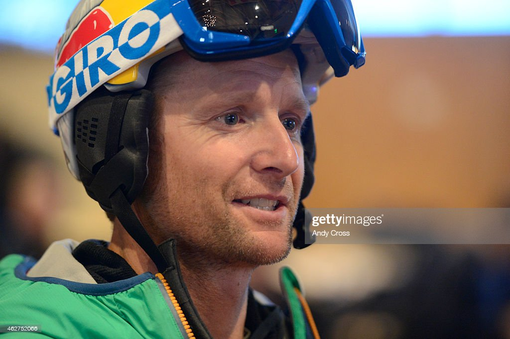 Former U.S. Ski Champion <a gi-track='captionPersonalityLinkClicked' href=/galleries/search?phrase=Daron+Rahlves&family=editorial&specificpeople=210626 ng-click='$event.stopPropagation()'>Daron Rahlves</a> inside the media center at the FIS Alpine World Ski Championships at Beaver Creek Resort February 04, 2015.
