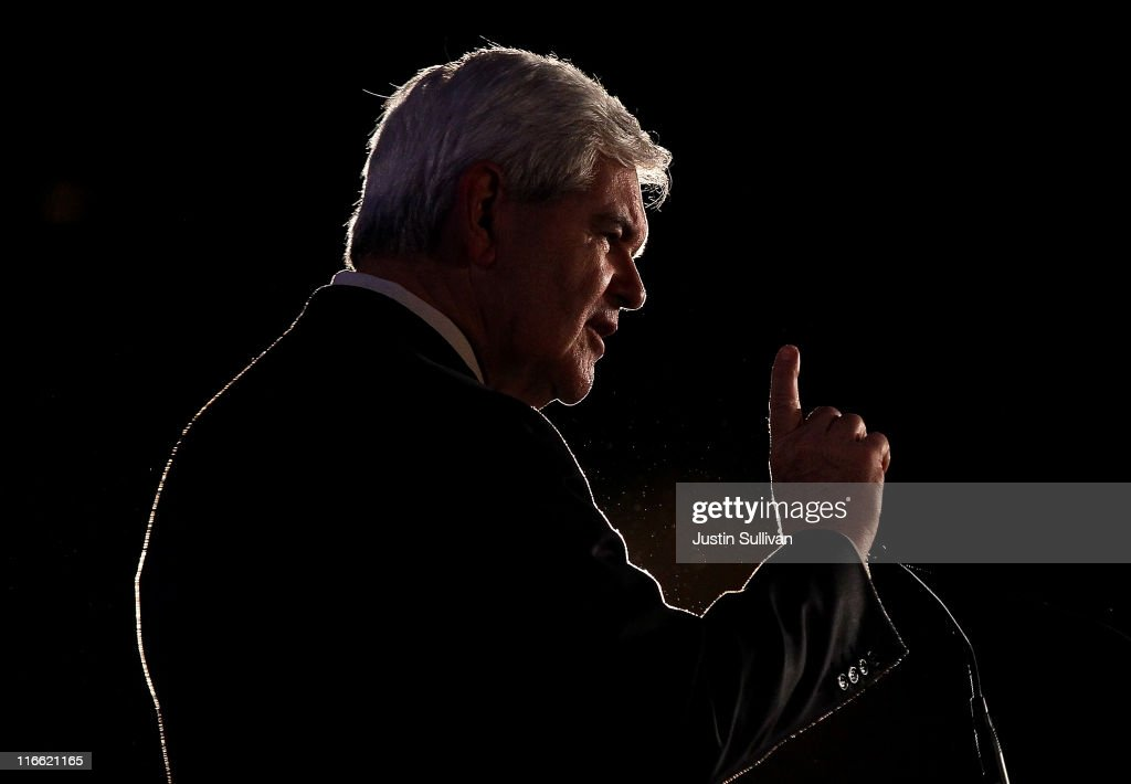 Former U.S. Speaker of the House and republican candidate for president <a gi-track='captionPersonalityLinkClicked' href=/galleries/search?phrase=Newt+Gingrich&family=editorial&specificpeople=202915 ng-click='$event.stopPropagation()'>Newt Gingrich</a> speaks during the 2011 Republican Leadership Conference on June 16, 2011 in New Orleans, Louisiana. The 2011 Republican Leadership Conference runs through Saturday and will feature keynote addresses from all of the major republican candidates for president as well as numerous republican leaders from across the country.