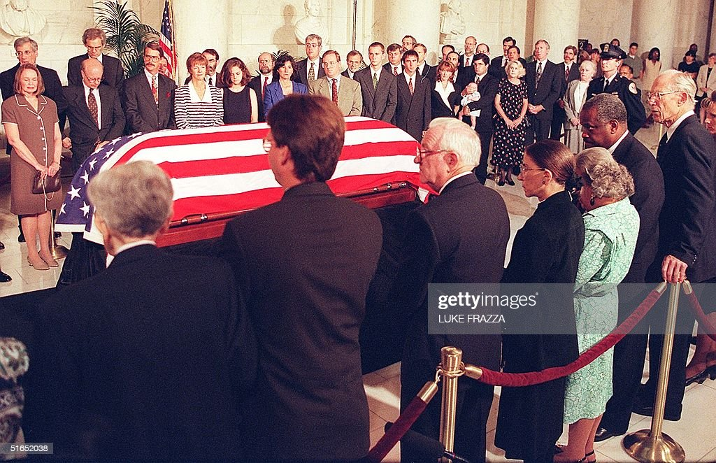 Former US Supreme Court Justice William J Brennan Jr lies in state in the Great Hall of the Supreme Court in Washington DC 28 July as his family and...