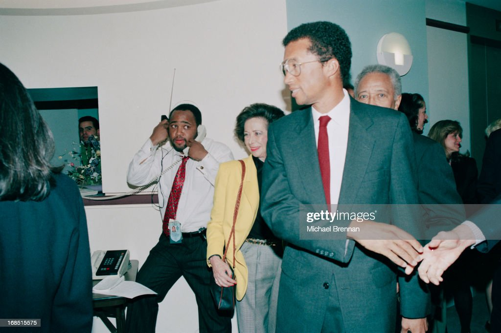 Former US tennis champion <a gi-track='captionPersonalityLinkClicked' href=/galleries/search?phrase=Arthur+Ashe&family=editorial&specificpeople=215183 ng-click='$event.stopPropagation()'>Arthur Ashe</a> (1943 - 1993) announces that he is HIV positive, New York City, 8th April 1992. Ashe contracted the virus from a blood transfusion during a heart bypass operation, and died of AIDS-related pneumonia.