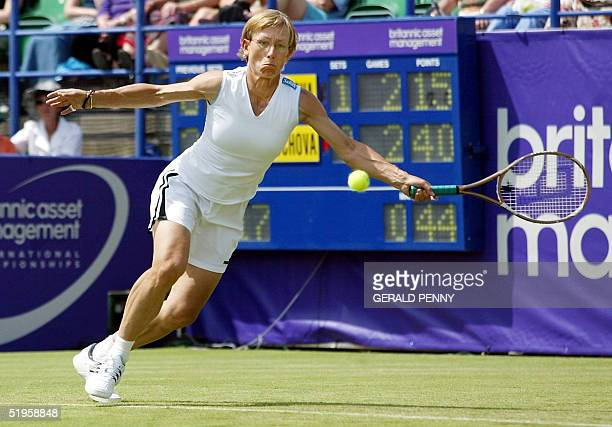 Former US tennis champion Martina Navratilova inaction during her 2nd round match against Daniela Hantuchova of Slovakia at Eastbourne 19 June 2002...